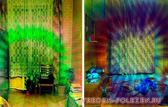 Слева комната с благоприятной энергетикой. Справа - ярко выраженная отрицательная энергетика. Вещи разбросаны в беспорядке - из-за этого геопатогенная зона широкая