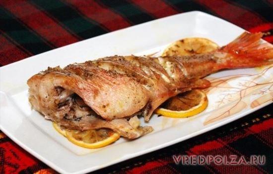 Запеченный морской окунь – вкусное и полезное блюдо
